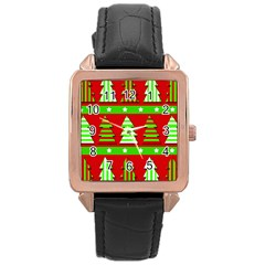 Christmas trees pattern Rose Gold Leather Watch