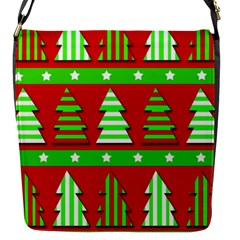 Christmas trees pattern Flap Messenger Bag (S)