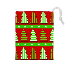 Christmas trees pattern Drawstring Pouches (Large)