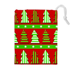 Christmas trees pattern Drawstring Pouches (Extra Large)