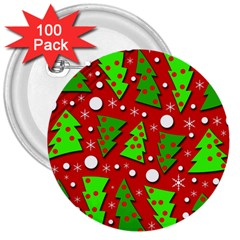 Twisted Christmas trees 3  Buttons (100 pack)