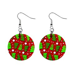 Twisted Christmas trees Mini Button Earrings