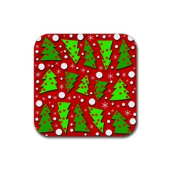 Twisted Christmas trees Rubber Coaster (Square)