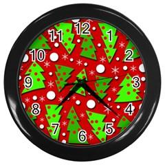 Twisted Christmas trees Wall Clocks (Black)