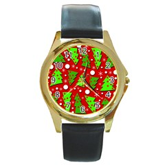 Twisted Christmas trees Round Gold Metal Watch