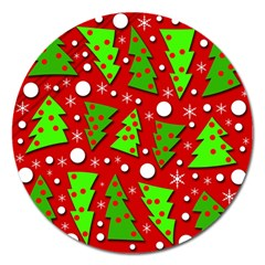 Twisted Christmas trees Magnet 5  (Round)