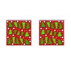Twisted Christmas trees Cufflinks (Square)