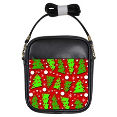 Twisted Christmas trees Girls Sling Bags