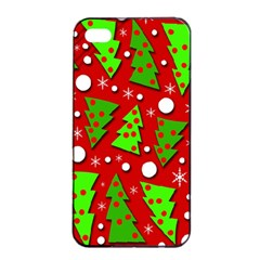 Twisted Christmas trees Apple iPhone 4/4s Seamless Case (Black)