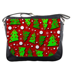 Twisted Christmas trees Messenger Bags