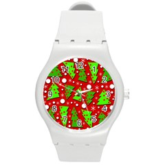 Twisted Christmas trees Round Plastic Sport Watch (M)