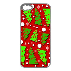 Twisted Christmas trees Apple iPhone 5 Case (Silver)