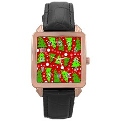 Twisted Christmas trees Rose Gold Leather Watch