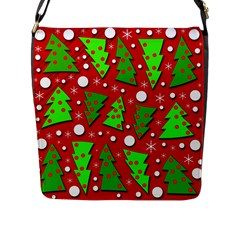 Twisted Christmas trees Flap Messenger Bag (L)