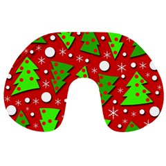Twisted Christmas trees Travel Neck Pillows