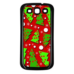 Twisted Christmas trees Samsung Galaxy S3 Back Case (Black)
