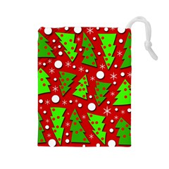 Twisted Christmas trees Drawstring Pouches (Large)