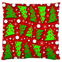 Twisted Christmas trees Large Flano Cushion Case (One Side)