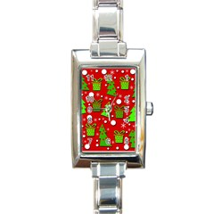 Christmas trees and gifts pattern Rectangle Italian Charm Watch