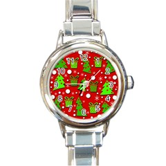 Christmas trees and gifts pattern Round Italian Charm Watch