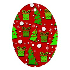 Christmas trees and gifts pattern Ornament (Oval)