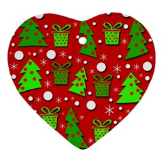 Christmas trees and gifts pattern Ornament (Heart)