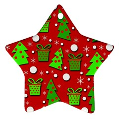 Christmas trees and gifts pattern Ornament (Star)