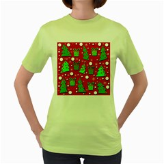 Christmas trees and gifts pattern Women s Green T-Shirt