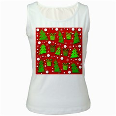 Christmas Trees And Gifts Pattern Women s White Tank Top