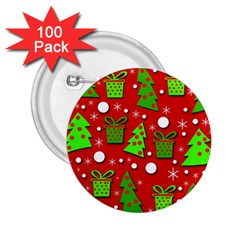 Christmas trees and gifts pattern 2.25  Buttons (100 pack)