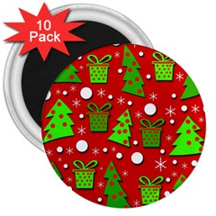 Christmas trees and gifts pattern 3  Magnets (10 pack)