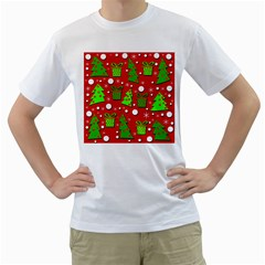 Christmas trees and gifts pattern Men s T-Shirt (White) (Two Sided)