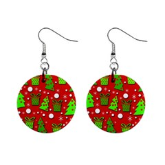 Christmas trees and gifts pattern Mini Button Earrings