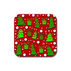 Christmas trees and gifts pattern Rubber Square Coaster (4 pack)