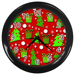Christmas trees and gifts pattern Wall Clocks (Black)