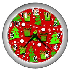 Christmas trees and gifts pattern Wall Clocks (Silver)