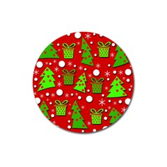 Christmas trees and gifts pattern Magnet 3  (Round)