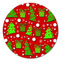 Christmas trees and gifts pattern Magnet 5  (Round)