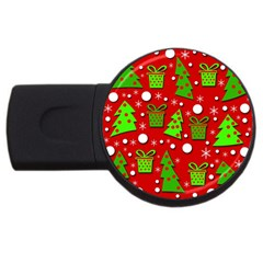 Christmas trees and gifts pattern USB Flash Drive Round (1 GB)