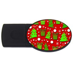 Christmas trees and gifts pattern USB Flash Drive Oval (2 GB)