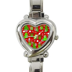 Christmas trees and gifts pattern Heart Italian Charm Watch
