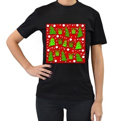 Christmas trees and gifts pattern Women s T-Shirt (Black) (Two Sided)