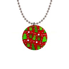 Christmas trees and gifts pattern Button Necklaces