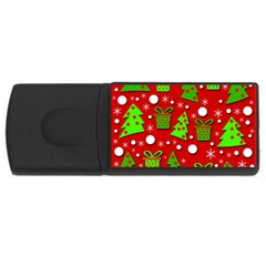Christmas trees and gifts pattern USB Flash Drive Rectangular (4 GB)