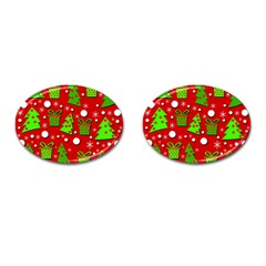 Christmas trees and gifts pattern Cufflinks (Oval)