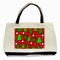Christmas trees and gifts pattern Basic Tote Bag
