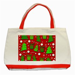 Christmas trees and gifts pattern Classic Tote Bag (Red)
