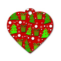 Christmas trees and gifts pattern Dog Tag Heart (One Side)