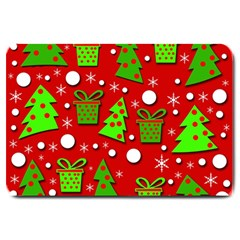Christmas trees and gifts pattern Large Doormat