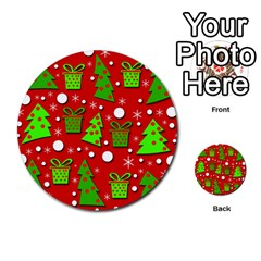 Christmas trees and gifts pattern Multi-purpose Cards (Round)